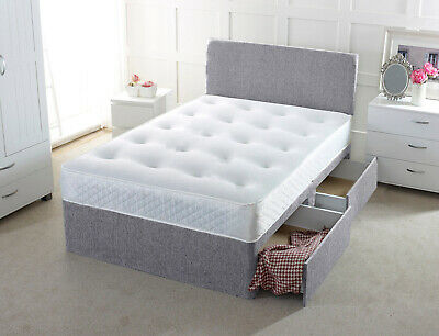 New Chenille Divan Bed Base With Under Bed Storage Drawers 4Ft6 5Ft 6Ft Charcoal