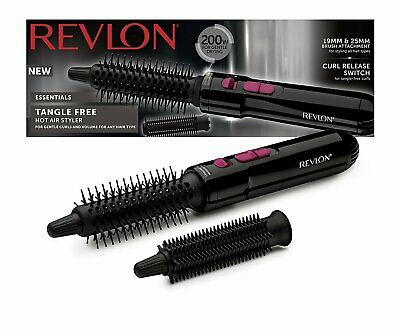 Revlon Hot Air Styler Tangle-Free Curl Release Switch Ball Tipped Bristle Brush