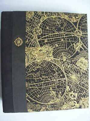 Fabric Covered 3 Ring Binder / Album - Black & Gold Globe / Map Print