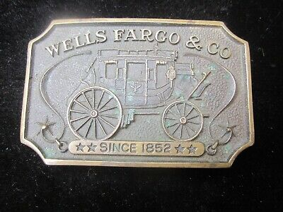 Wells Fargo Bank Belt Buckle vintage old 1973 stagecoach rare old west wagon
