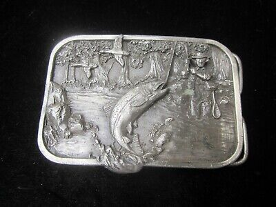 Fishing Trout Fly Stream 1982 vintage belt buckle RARE Siskiyou Williams OR old