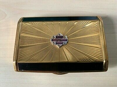 Vintage Melissa Marcasite Black Make Up Powder Compact Mirror Made in England