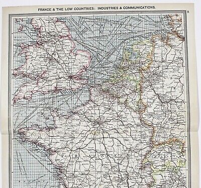 1907 France Map England Steamship Routes Railroads Commercial Industry ORIGINAL