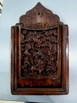 Antique  Chinese Carved Wooden Wall Hanging  Box