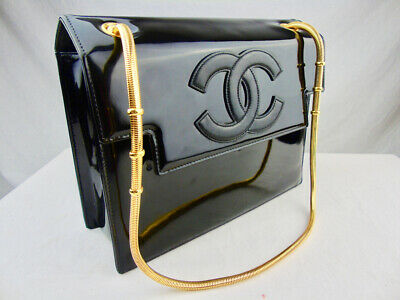 Authentic CHANEL classic black patent leather bag COA