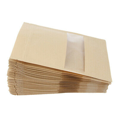 100x Kraft Paper Bag Bread Party Shopping Bags for Boutique Zip Lock 12x20cm