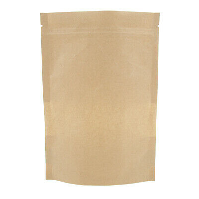 100x Kraft Paper Bag Bread Party Shopping Bags for Boutique Zip Lock 14x22cm