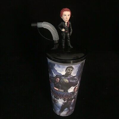 AVENGERS End Game Black Widow Figure Movie Cinema 0.5L Drinks Cup Topper RARE