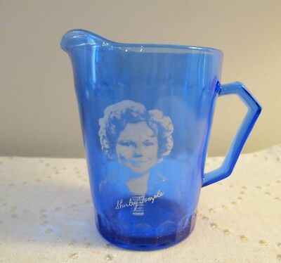 Vintage Shirley Temple Blue Cobalt Glass Creamer Pitcher 4""