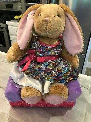 Build A Bear - Bunny in Multi Colored Sequins Dress & Bed/Chair Combo
