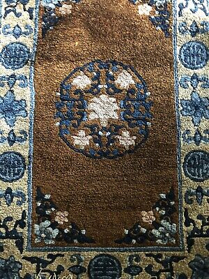 Antique Chinese Deco Oriental Rug Colorful Thick Pile Fringe Floral Indigo