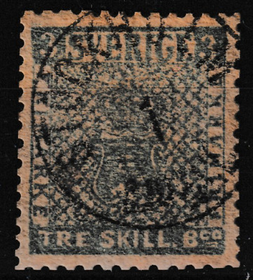 Sweden #3 Skilling Banco Used, Tone Ironed Out Vert Crease, Scott#1 Cat $5000(V4