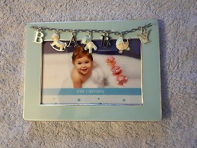 BEAUTIFUL BABY PHOTO FRAME - with hanging chain charms spelling 'baby' *NEW*