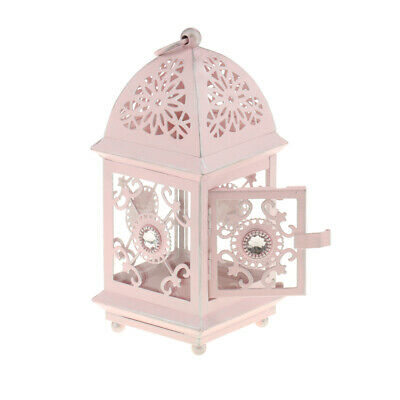 Rustic Lamp House Wrought Iron Lantern Ornament Tea Light Candle Holder Pink