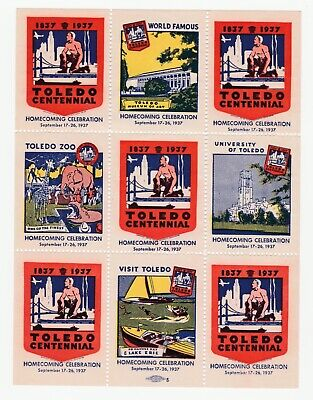 US- 1837-1937 Toledo Centennial Homecoming Celebrations Sheet of 9 No gum