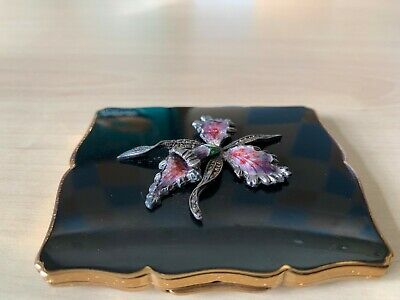 Vintage Stratton Black Enamel Orchid Marcasite Powder Compact Made in England