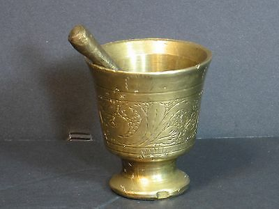 """Bronze Pestle & Mortar Middle Eastern Intricately Hand Engraved Heavy 2.75"""" Rare"""