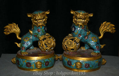 "9.6"" Old Chinese cloisonne Copper Feng Shui Foo Fu Dog Guardion Lion Statue Pair"