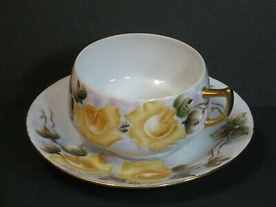 Vintage Plomeson Eggshell China Tea Cup & Saucer Set Yellow Roses, Gold, Rare!