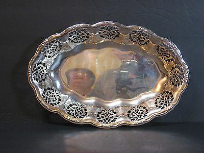 "100 Jahre Quist ORNATE SILVER PLATED DISH/BOWL, PIERCED, SCALLOPED 12"" W GERMANY"