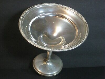 "Mueck-Carey Sterling Silver Tall Compote 6"" Art Deco, Gadroon Border, Vtg, Rare!"