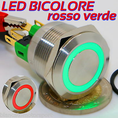 Button 22mm LED Green Red 12V Dpdt Monostable Illuminated Dual Dc