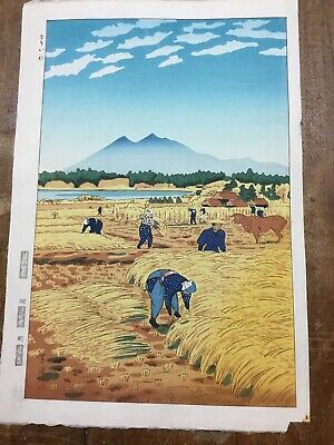 Kasamatsu Shiro Japanese Woodblock Print  Rice Harvesting