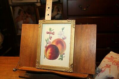 Antique Framed Peaches Litho Wood Gold Tone Frame Ornate Metal Corners 5x7