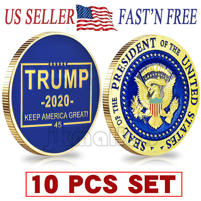 10xDonald J Trump 2020 Keep America Great! Presidential Seal Gold Challenge Coin
