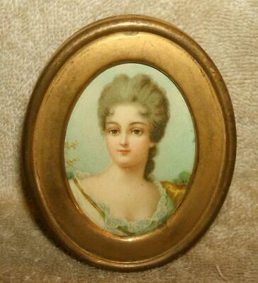 Small Late 1800's Brass Frame with Victorian Die Cut of Woman