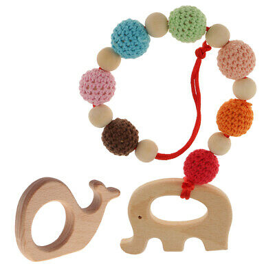 Safe Baby Pacifier Ring Teether Pendant Necklace Toy Wooden Key Chewing Toy 889L