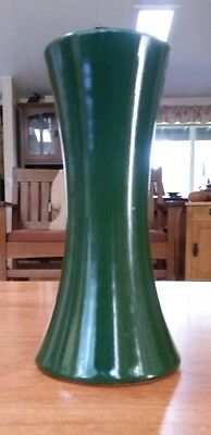 "Dark Green glazed Arts & Crafts Art Pottery 7"" Vase Antique zanesville? Thrown?"