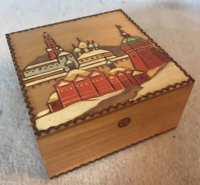 Vintage Russian Pyrography Carved Wood & Hand Painted Box ~W/ Original Paperwork