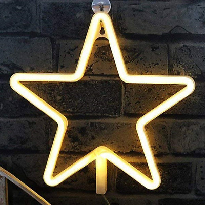 Star Neon Light Signs - XIYUNTE Neon Lights Star Wall Lamp Room Decor, Battery