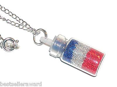 1pc Glass Crystal balls RWB bottle pendant vial patriotic flag locket Necklace*