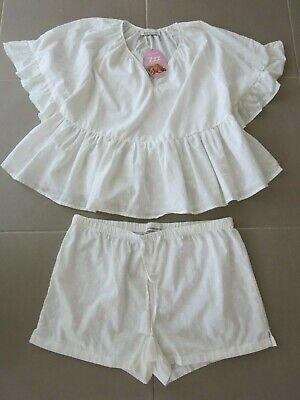 New With Tags Peter Alexander Womens Size L 14 White  Pyjama Short And Top Set