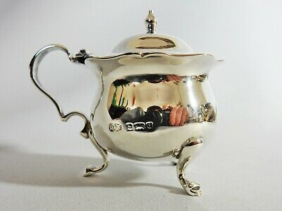 Stunning Antique 1903 Sterling Solid Silver Cobalt Blue Glass Mustard Pot Liner