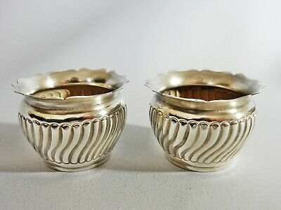 Superb Pair of Antique 1885 Sterling Solid Silver Salt Pot Dishes Bowls Cellars