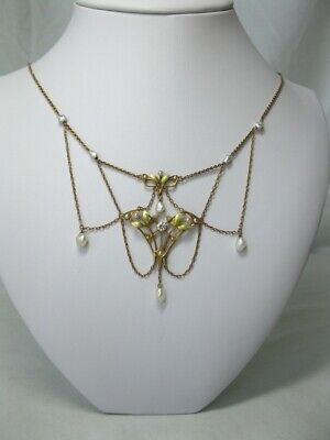 Art Nouveau Festoon Necklace Diamond Pearl Enamel 14K Gold c1900 Krementz