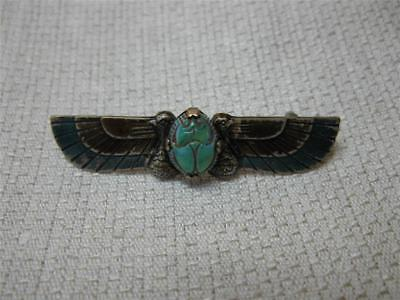 Art Deco Scarab Brooch Enamel Egyptian Revival Antique 1920 Jugend Arts Crafts