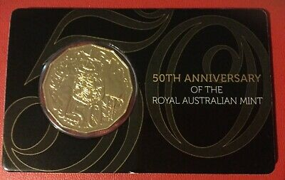 2015 GOLD PLATED 50c UNC COIN 50th Anniversary Royal Australian Mint 50 cent