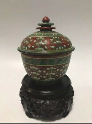 Porcelain Rare Antique Siam Thai Bencharong Famille Old Chinese Jar Bowl Period