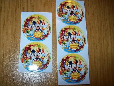 5 Sticker  Micky Maus - Donald Duck - Geburtstagsparty Mickey Mouse