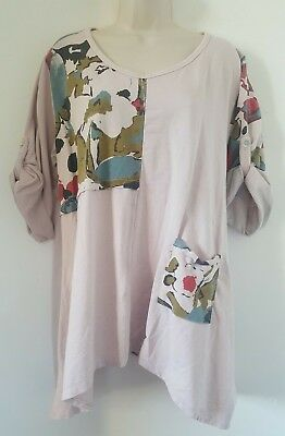 New Ladies Italian Lagenlook Tunic Top Dusky Pink Floral Quirky Size 16 18 20 22