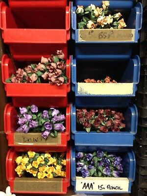 Job lot 50 x Bunches Paper Flowers Roses Wire Stems Craft Button Holes Wedding