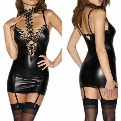 sexy Reizwäsche String mini Kleid Leder Lack Spitze Chocker Party BDSM Bondage