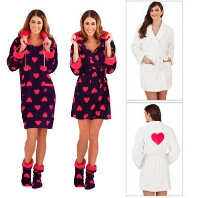 Loungeable Womens Heart Print Robes Or Fleece Nightdress Hooded Dressing Gown
