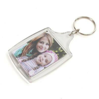 35x24mm Insert Clear Blank Acrylic Photo Keyring Personalise Plastic (UK) gift