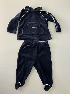 Armani Baby Boys Navy Blue Velour Tracksuit Hoodie & Bottoms Age 3m Months