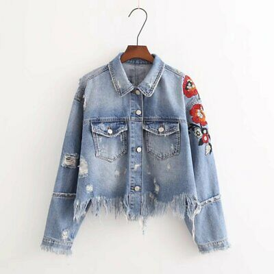 Ripped Floral Embroidered Ladies Jacket Long Sleeves Square Collar Women Coat